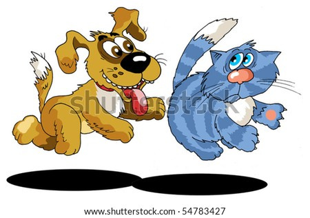 The dog chasing a striped cat (vector and illustration); - stock vector