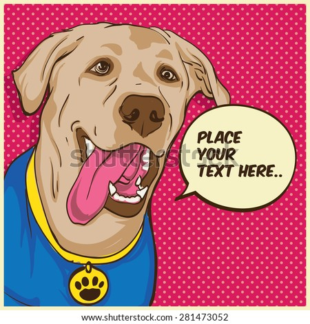 The Dog Superhero Pop Art portrait - stock vector