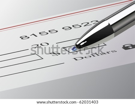 The Dollar Amount on Check , vector - stock vector