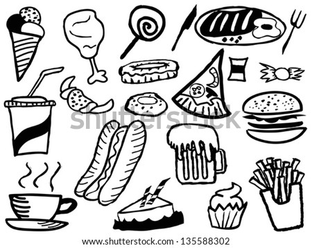 the doodle background with junk foods - stock vector