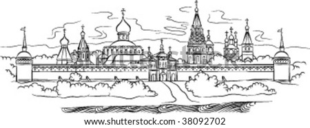 The drawing of Russian Monastery and river, vector illustration