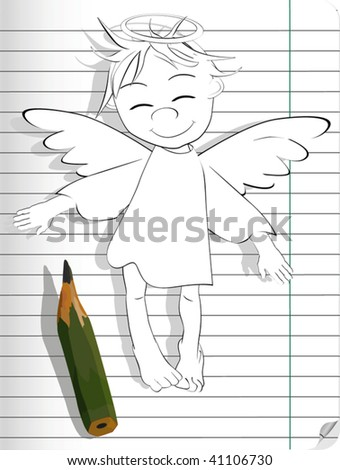 the drawn angel - stock vector