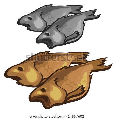 The dried fish. Vector illustration.