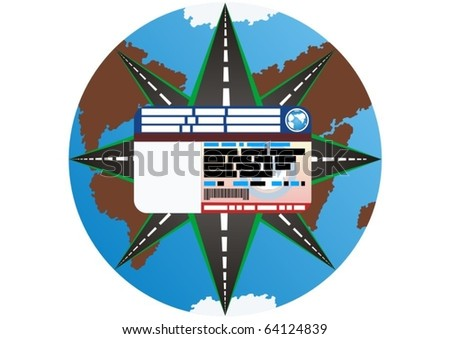 The driving of the international standard offers the driver the road worldwide. - stock vector