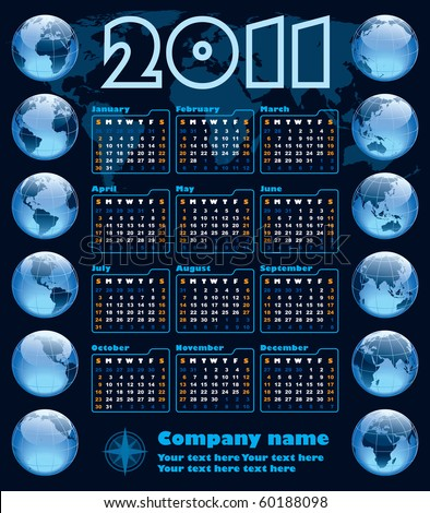 The Earth blue calendar for 2011, weeks starts on Sunday - stock vector
