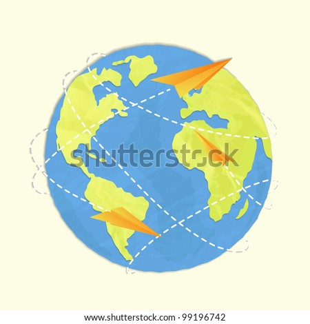 The Earth, made of paper, with planes - stock vector