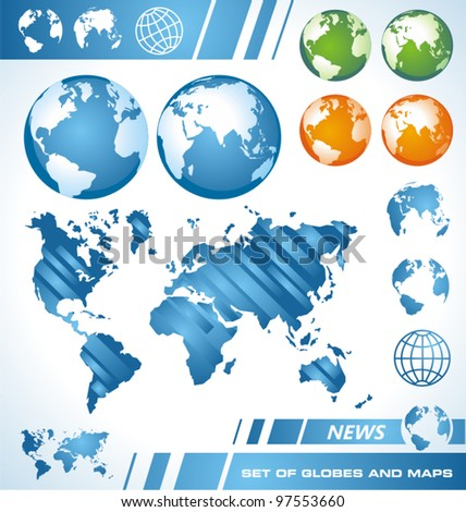 The Earth - Set of maps and globes - stock vector