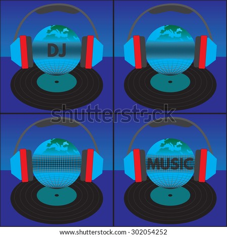 The earth (the globe) with the text, headphones and vinyl record. Elements for design. The text can be easily changed (Transparency_ Opacity =80-90%). Color of a background can be any color. - stock vector