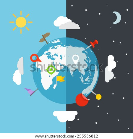The Earth with different pins - stock vector