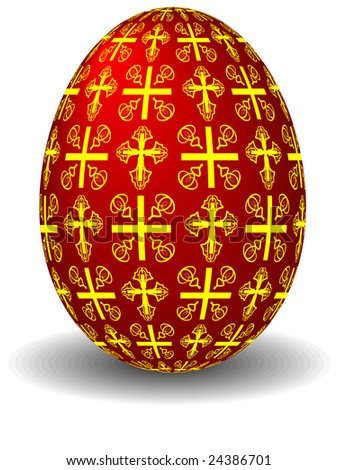 The easter celebratory red egg painted by crosses in a vector