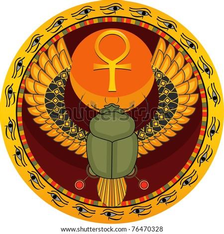 The Egyptian sacred bug a scarab a symbol of the sun in a vector - stock vector