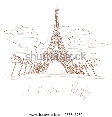 The Eiffel Tower hand drawn illustration - stock vector