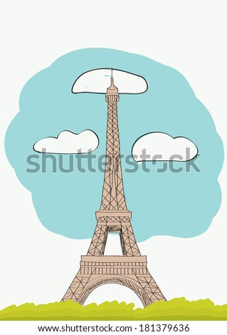 The Eiffel Tower in Paris. France. vector illustration for magazine or newspaper - stock vector