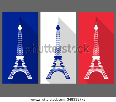 The Eiffel Tower in the colors of the French flag