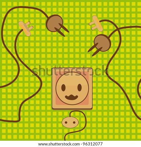 The electric socket. Cartoon vector illustration. - stock vector