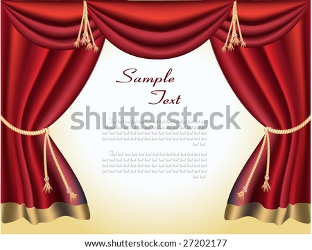 The elegant theater curtain with gold edging. Vector - stock vector