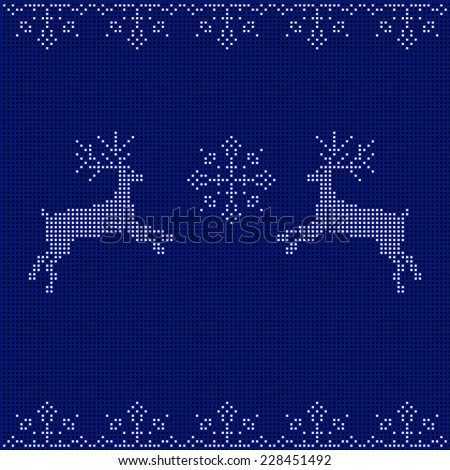 The embroidered New Year's ornament. Beaded Christmas ornament reindeer and snowflakes. vector - stock vector