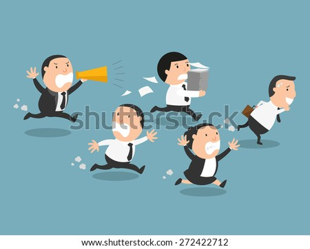 The employees running away from their bad boss - stock vector