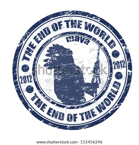 The End of the World theme grunge rubber stamp, vector illustration - stock vector