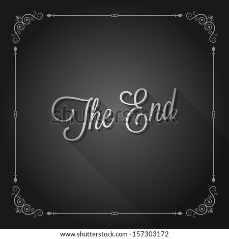 the end sign movie ending frame - stock vector