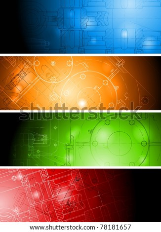 The engineering drawing on vibrant banners. Eps 10 vector - stock vector