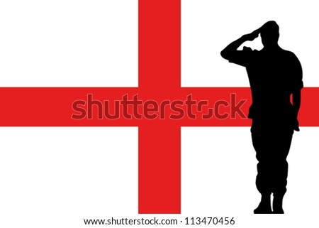 The England flag and the silhouette of a soldier saluting - stock vector