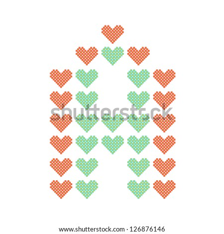 The English alphabet in many heart patterns, Letter A, One of the 26 English letters. - stock vector