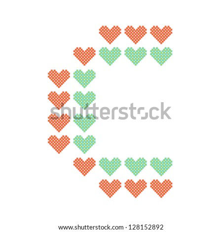 The English alphabet in many heart patterns, Letter C, One of the 26 English letters. - stock vector