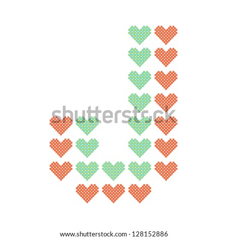 The English alphabet in many heart patterns, Letter J, One of the 26 English letters. - stock vector