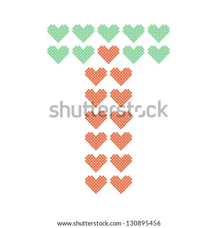 The English alphabet in many heart patterns, Letter T, One of the 26 English letters. - stock vector