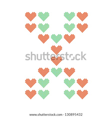 The English alphabet in many heart patterns, Letter X, One of the 26 English letters. - stock vector