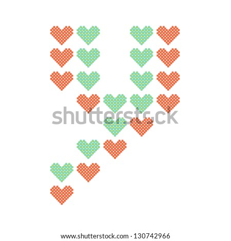 The English alphabet in many heart patterns, Letter Y, One of the 26 English letters. - stock vector