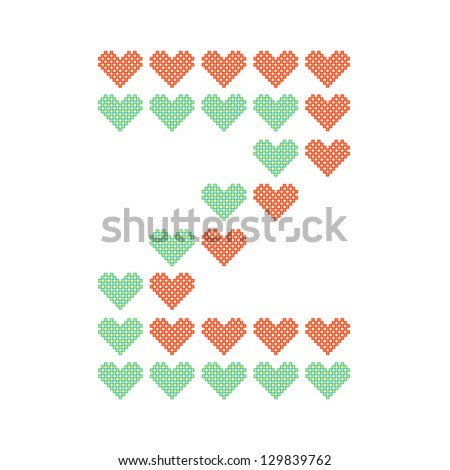The English alphabet in many heart patterns, Letter Z, One of the 26 English letters. - stock vector