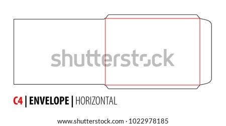 envelope c 4 horizontal size die cut stock vector 1022978185
