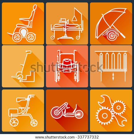 The equipment for people with disabilities. Set of bright icons flat in a fashionable style with long shadows in orange tones. Vector illustration. - stock vector