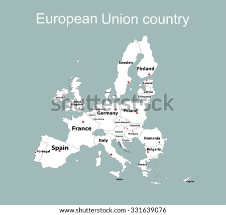 The European Union map and all the countries  - stock vector