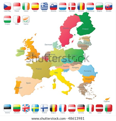 The European Union map with flags - stock vector