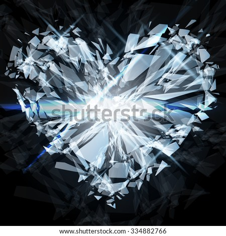 The explosion scattered shards of a glass heart. Vector illustration
