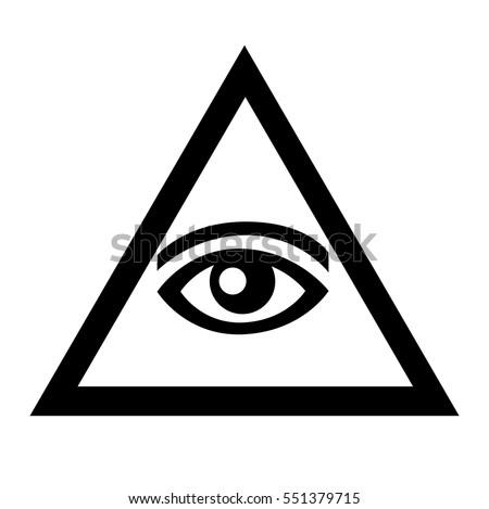 Eye Triangle Blackandwhite Sign Symbols Freemasonry Stock Vector