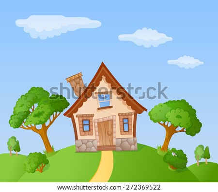 The facade of a small house in a landscape