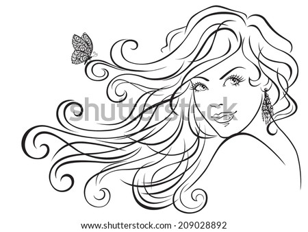 The face of a beautiful girl with long hair. Vector illustration  - stock vector