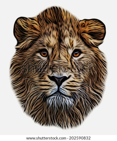 The face of an Asian lion, isolated on white background. The King of beasts, biggest cat, looking straight into the camera. The most dangerous predator. Unusual and amazing blackened vector image. - stock vector
