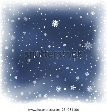 The falling snow and dark blue night winter background - stock vector