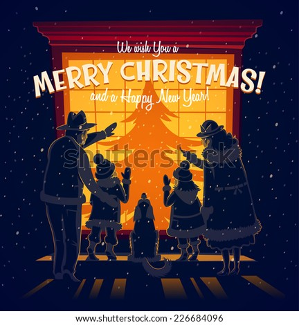 The family in front of the window. Christmas card \ poster \ banner. Vector illustration. - stock vector