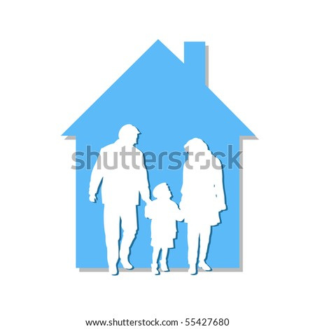 The family leaves a beautiful blue house - stock vector