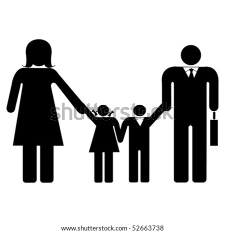 The family mother father daughter and son - stock vector