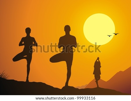 The family practices yoga against a yoga decline - stock vector