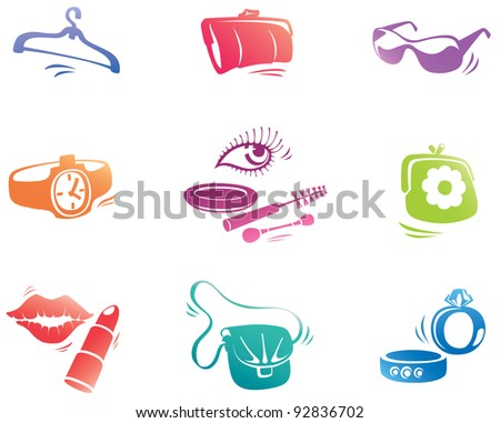 The fashion accessories icon set: the lipstick, the sunglasses, the watch, the mascara etc... - stock vector