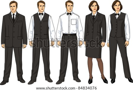 The female and man's form of clothes for waiters - stock vector