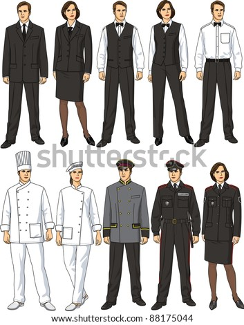The female and man's form of clothes for workers of restaurant - stock vector